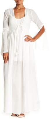 AAKAA V-Neck Long Bell Sleeve Maxi Kimono