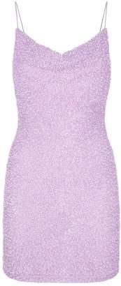 Alice + Olivia Harmie Sequin Cowl-Neck Mini Dress