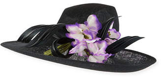 Philip Treacy Straw Hat w/ Ribbon & Rosette Detail