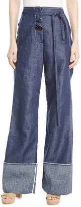 Rejina Pyo Peyton High-Waist Wide-Leg Linen-Cotton Pants