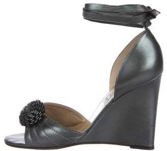 Gianni Versace Leather Wedge Sandals