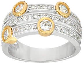 Diamonique Two-Tone Three Row Band Ring,Sterling
