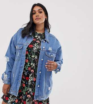 081bd7254b6 Missguided Plus oversized denim jacket in blue
