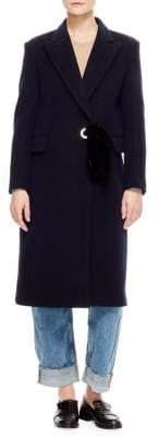 Sandro Velvet Belt Wool-Blend Coat
