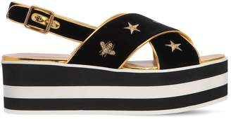 Gucci 65mm Peggy Embroidered Velvet Wedges