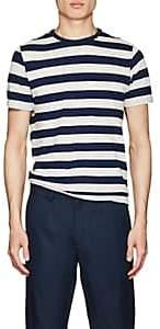 Officine Generale Men's Striped Cotton-Linen T-Shirt - White
