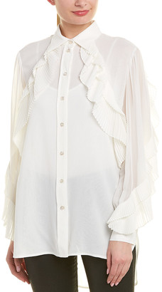 Givenchy Pleated Silk-Blend Blouse