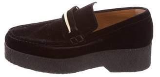 Celine Velvet Platform Loafers
