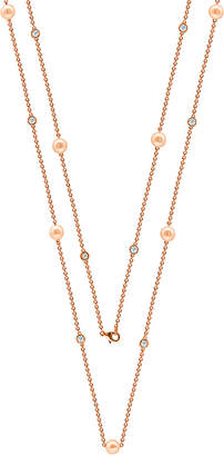 LeVian Suzy Diamonds Suzy 18K Over Silver 3.90 Ct. Tw. Sapphire & 7-7.5Mm Pearl 36In Necklace