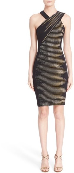 VersaceWomen's Versace Collection Crystal Embellished Stretch Cady Sheath Dress