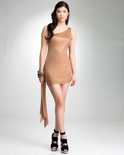 One-Shoulder Sparkle Knit Stripped Dress - bebe Addiction
