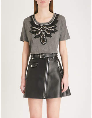 The Kooples Lace-detail jersey T-shirt