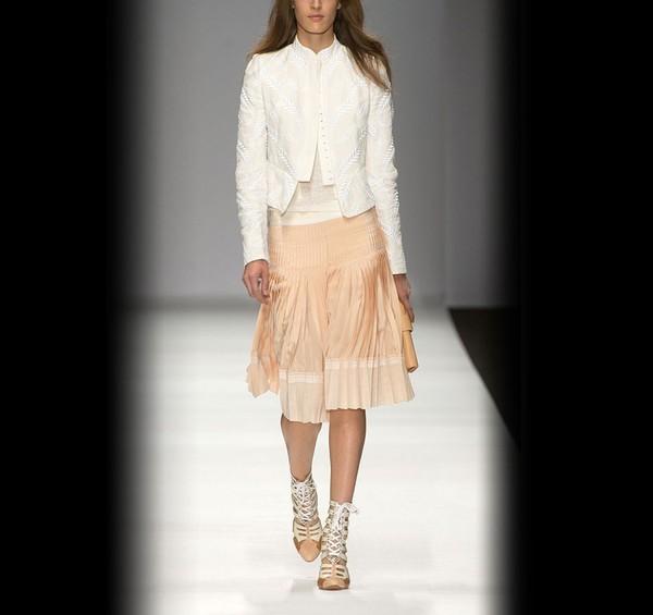 Vanessa Bruno Pleated Silk Skirt