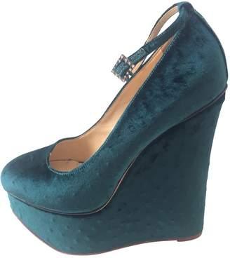 Charlotte Olympia Green Velvet Heels