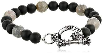 King Baby Studio Men's Onyx Bracelet with Labradorite and Silver Clasp