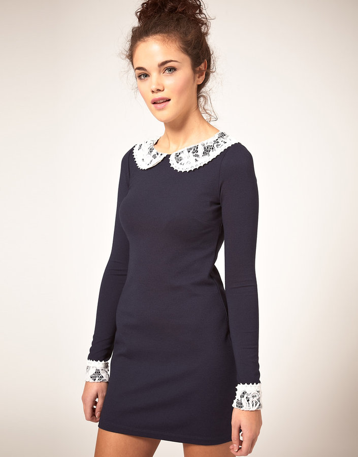 River Island Shift Dress With Peter Pan Collar