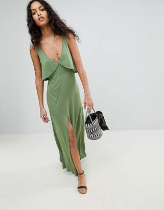 Asos DESIGN Floaty Layer Frill Jersey Maxi Beach Dress