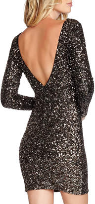 Dress the Population Lola Long-Sleeve Scoop-Back Sequined Mini Cocktail Dress