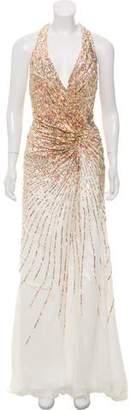 Terani Couture Sequin Silk Halter Dress w/ Tags