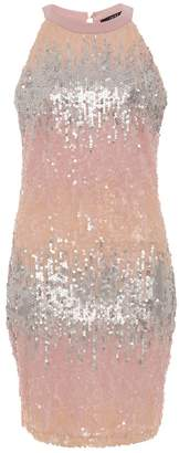 Quiz Pink And Silver Ombre High Neck Bodycon Dress