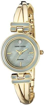 Anne Klein Women's AK/2622GYGB Diamond-Accented Gold-Tone Crossover Bangle Watch