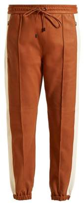 Isabel Marant Coy Side Stripe Leather Track Pants - Womens - Tan