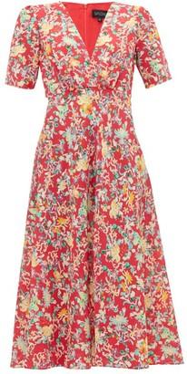 Saloni Eden Floral Print Silk Midi Dress - Womens - Red Multi