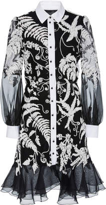 Marchesa Embroidered Organza Flared Shirt Dress