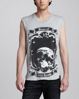 Balmain Pierre Moon-Print Sleeveless Tee