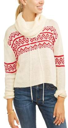 Derek Heart Juniors' Snowflake Printed Cowl Neck Hi-Lo Pullover Sweater