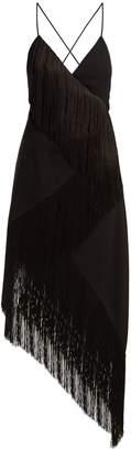 Givenchy Fringed asymmetric hem wool-crepe dress
