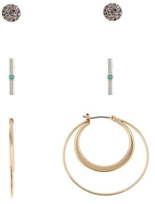Lucky Brand Hoop & Stud Earrings Set - Set of 3