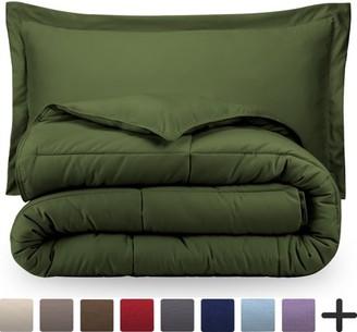 Ultrasoft Bare Home Ultra-Soft Premium 1800 Series Goose Down Alternative Comforter Set - Hypoallergenic - All Season - Plush Fiberfill, Twin Extra Long (Twin/Twin XL - Green)