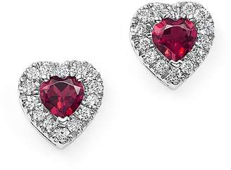 Bloomingdale's Rhodolite Garnet and Diamond Heart Earrings in 14K White Gold - 100% Exclusive