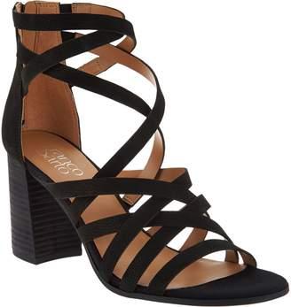 Franco Sarto Leather Block Heel Sandals - Madrid