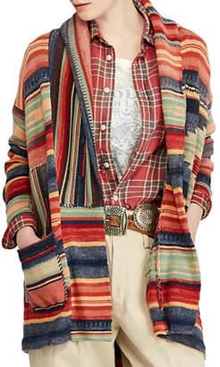 Polo Ralph Lauren Washed Pattern Linen-Blend Shawl Sweater