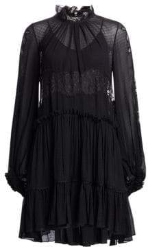 3.1 Phillip Lim Lace& Stretch-Silk Flounce Dress