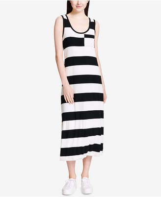 Calvin Klein Striped Patch-Pocket Maxi Dress