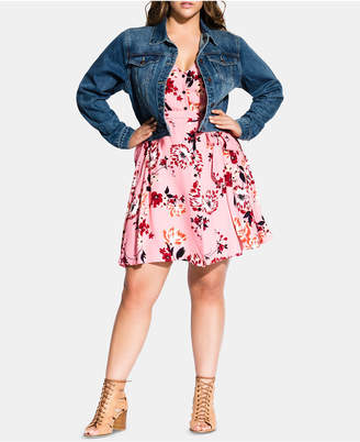 City Chic Trendy Plus Size Embroidered Denim Jacket