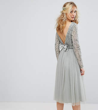 Maya Embellished Tulle Midi Dress With Bow V Back