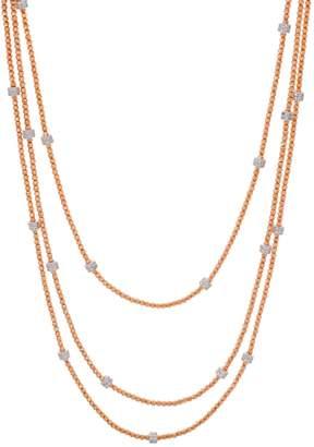 Diamonique Italian Silver 36 Diamond Cut Bead Necklace