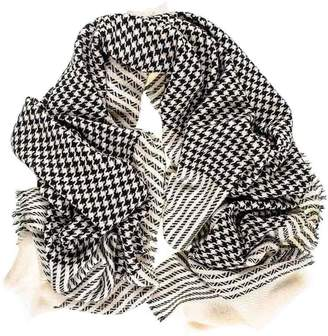 Black and Ivory Houndstooth Cashmere Shawl Square