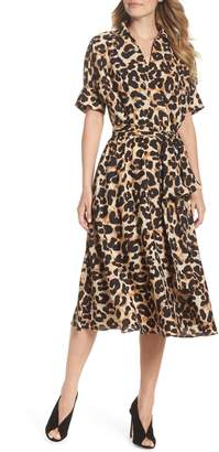 Eliza J Animal Print Midi Shirtdress