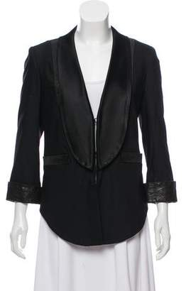 Alice + Olivia Leather Accent Tuxedo Blazer