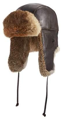 Crown Cap Vintage Leather Fur Aviator Hat