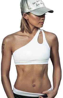 Fashionmy Women's One Shoulder Sports Bra Solid Fitness Yoga Top Athletic Underwea M