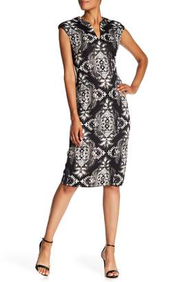 Connected Apparel Split Neck Cap Sleeve Printed Sheath Dress