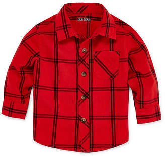 Okie Dokie Long Sleeve Plaid Button-Front Shirt - Baby Boy 3M-24M