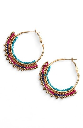 Women's Panacea Beaded Hoop Earrings $22 thestylecure.com