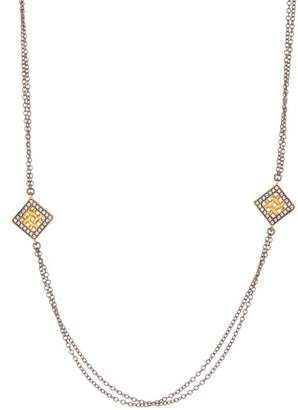 Freida Rothman 14K Gold & Rhodium Plated Sterling Silver Lattice Motif CZ Trellis Station Chain Necklace